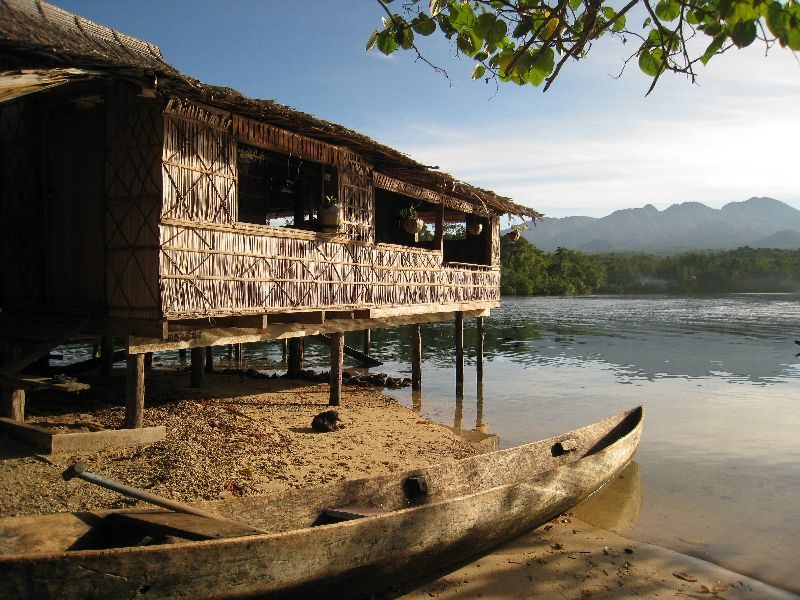 Hambere Village Stay, overlooking Tiro Congo lagoon and Mt Rano in the distance. 'Logging doesn't provide our future.'