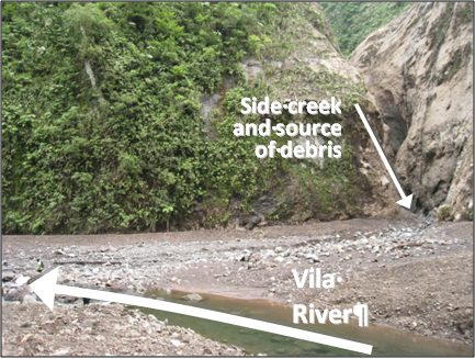 Side creek (far right) brings silt from Mt Rano landslide and blocks Vila River. Lower end of new 400m pool in foreground