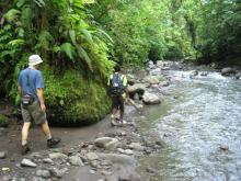 Walking up the Vila River to the  Kolombangara crater center