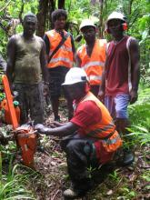 Gillian Bui of KFPL with KIBCA Rangers and Guide during chainsaw training