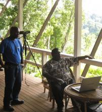 PM Danny Phillips and KIBCA Coordinator, Ferguson Vaghi, enjoy the view from Imbu Rano Lodge
