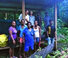 The women walkers and guides at Konggu Rano hut in the Kolombangara Island crater