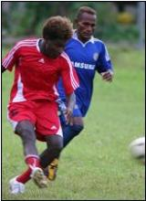 KIBCA Cup winners, Maelean Jungle(red, front) won 1-0 to Brothers United 2 (blue, back) in the Soccer Grand Final